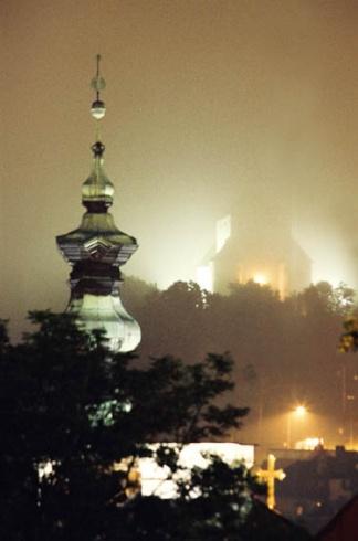 Banská Štiavnica - nočná hmla