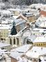 Banská Štiavnica v zime - Trojičné námestie z Nového zámku