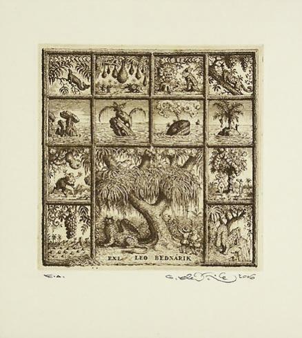 Peter KĽÚČIK, Ak. maliar - Ex Libris Leo Bednárik (2006), Technika: lept, Rozmery: 14,8x14,5 cm
