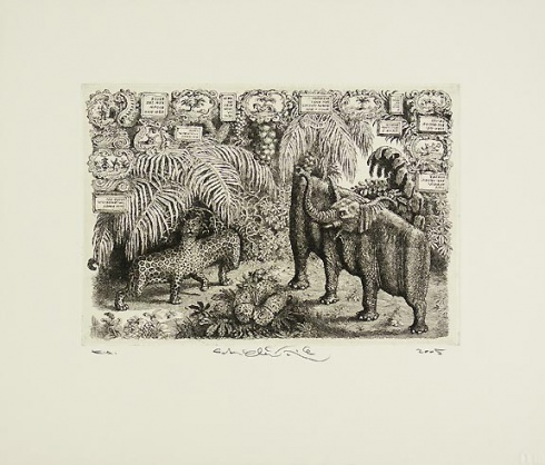 Peter KĽÚČIK, Ak. maliar - Slon a leopard (2005), Technika: lept, Rozmery: 15,8x22,7 cm