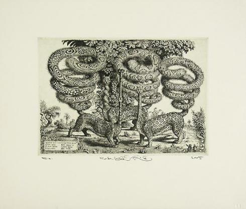 Peter KĽÚČIK, Ak. maliar - Dlhé chvosty (2005), Technika: lept, Rozmery: 16x22,5 cm