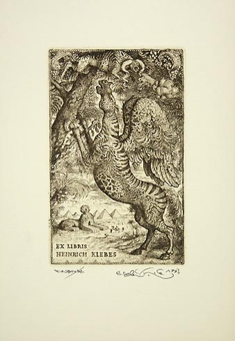 Peter KĽÚČIK, Ak. maliar - Ex Libris Heinrich Klebes (1993), Technika: lept, Rozmery: 15,8x9,8 cm