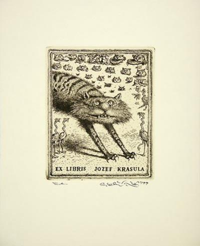 Peter KĽÚČIK, Ak. maliar - Ex Libris L. Krasula (1999), Technika: lept, Rozmery: 12x9,5 cm
