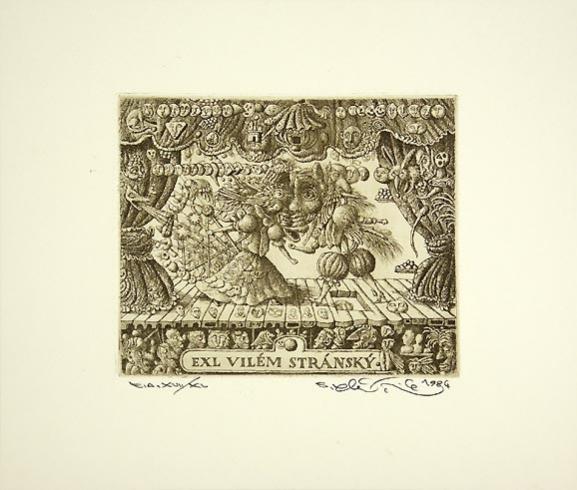Peter KĽÚČIK, Ak. maliar - Ex Libris Vilém Stránsky (1984), Technika: lept, Rozmery: 10,8x12,8 cm