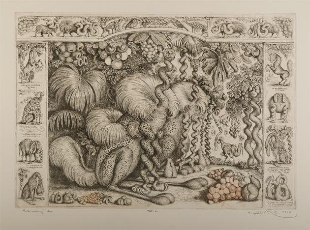 Peter KĽÚČIK, Ak. maliar - Pitoreskný les (1996), Technika: lept, Rozmery: 34,5x49 cm