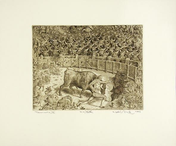 Peter KĽÚČIK, Ak. maliar - Tauromachia IV (1993), Technika: lept, Rozmery: 24,5x32 cm