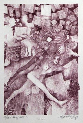 Naďa RAPPENSBER- GEROVÁ - JANKOVIČOVÁ, Ak. maliar - O letnej noci X (1997), Technika: litografia , Rozmery: 25x15,5 cm