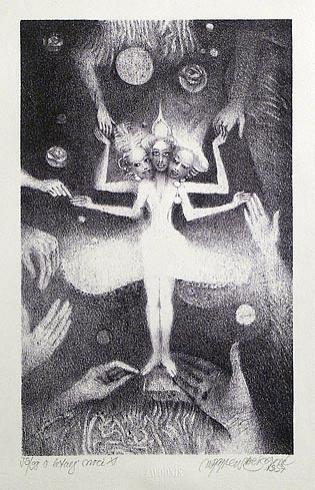 Naďa RAPPENSBER- GEROVÁ - JANKOVIČOVÁ, Ak. maliar - O letnej noci XI (1997), Technika: litografia nerám, Rozmery: 21x13,5 cm