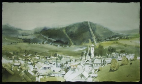 Zdeněk HOŠEK, Akademický sochár - Čičmany (2000), Technika: akvarel, Rozmery: 54x92 cm