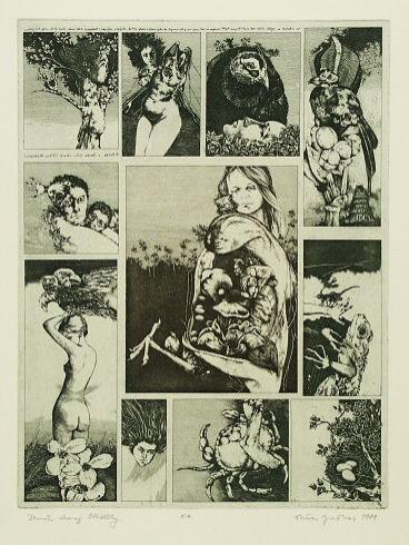Dušan GREČNER, Akademický maliar - Denník chorej Othellky (1981), Technika: lept, Rozmery: 32x24,5 cm