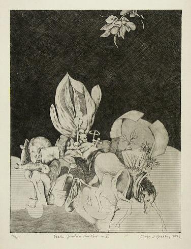 Dušan GREČNER, Akademický maliar - Pocta Jankovi Kráľovi 1 (1972), Technika: lept, Rozmery: 32x25 cm