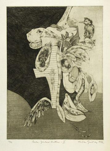 Dušan GREČNER, Akademický maliar - Pocta Jankovi Kráľovi 2 (1972), Technika: lept, Rozmery: 31x23 cm