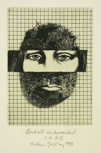 Dušan GREČNER, Akademický maliar - Portrét introverta (1989), Technika: lept, Rozmery: 12x8,8 cm