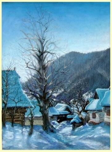 Braňo JÁNOŠ - Vlkolínec (2004), Technique: suchý pastel, Size: 42x30 cm