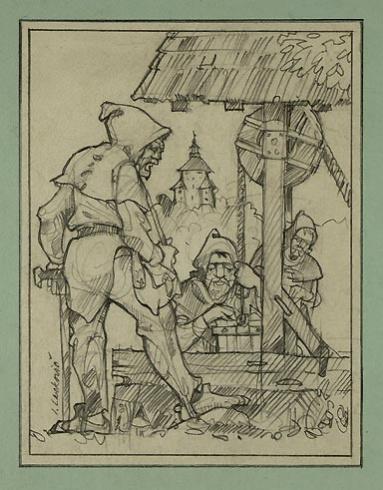 Igor LACKOVIČ - Starí haviari (2006), Technika: kresba grafitovou tuškou, Rozmery: 16x12,5 cm