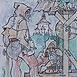 Autor: Igor LACKOVIČ, Názov diela: Starí haviari 2, Technika: kolorovaná kresba tuškou, Motív: figurálne, akty, Rozmery: 14,5x14 cm, Rok: 2006