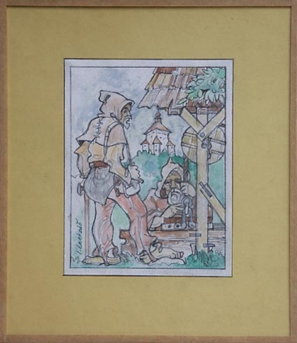 Igor LACKOVIČ - Starí haviari 2 (2006), Technika: kolorovaná kresba tuškou, Rozmery: 14,5x14 cm