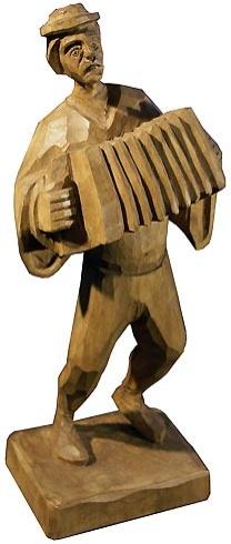 Jozef ŠÍMA - Harmonikár (2006), Technika: drevorezba, Rozmery: 31,5x13x10 cm