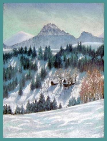 Braňo JÁNOŠ - Zima pod rozsutcom (2004), Technika: suchý pastel, Rozmery: 42x30 cm