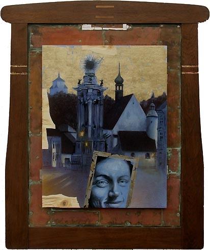 Braňo JÁNOŠ - Noc má svoju moc - Banská Štiavnica (2007), Technika: tempera na dreve, zlátenie, Rozmery: 87x67 cm