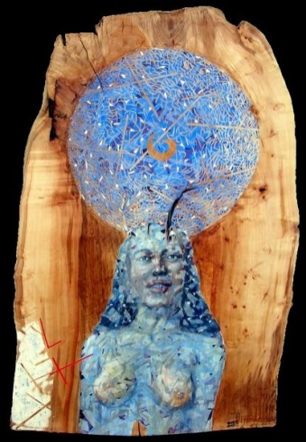 Braňo JÁNOŠ - Vesmírne ticho (2004), Technika: kombinovaná, Rozmery: 110x70 cm