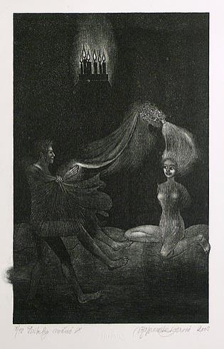 Naďa RAPPENSBER- GEROVÁ - JANKOVIČOVÁ, Ak. maliar - Príbehy nočné IX (2003), Technika: litografia nerám, Rozmery: 29x18 cm