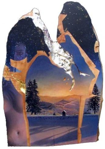 Braňo JÁNOŠ - Atlantída (Sú v bani okná?) (2005), Technika: kombinovaná (tempera na dreve, zlátenie), Rozmery: 110 x 77 cm