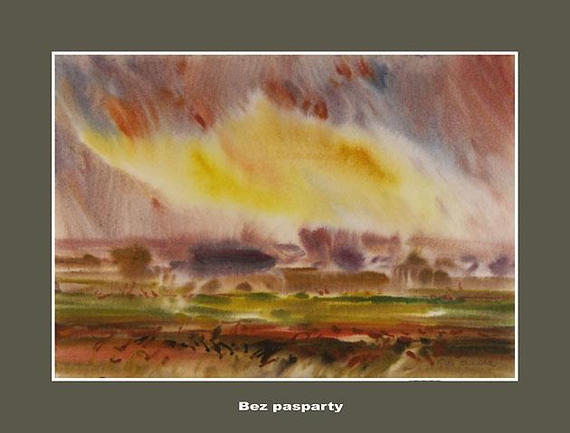Ján KUCHTA - Krajina XVI, Technika: akvarel - nerámované - bez pasparty, Rozmery: 43x61 cm