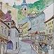 Autor: Igor LACKOVIČ, Názov diela: Stred Banskej Štiavnice, Technika: Kolorovaná kresba, ceruzka, akvarel, Motív: krajina, architektúra, Rozmery: 21,5x18 cm, Rok: 2008