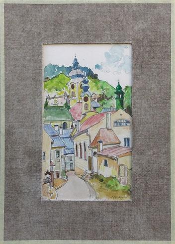 Igor LACKOVIČ - Ulička v Banskej Štiavnici (2008), Technika: Kolorovaná kresba, ceruzka, akvarel, Rozmery: 22x15 cm