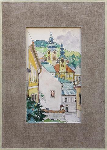 Igor LACKOVIČ - Bočná ulička v Banskej Štiavnici (2008), Technika: Kolorovaná kresba, ceruzka, akvarel, Rozmery: 22,5x14 cm
