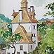 Autor: Igor LACKOVIČ, Názov diela: Klopačka v Banskej Štiavnici, Technika: Kolorovaná kresba, ceruzka, akvarel, Motív: krajina, architektúra, Rozmery: 20,5x14 cm, Rok: 2008