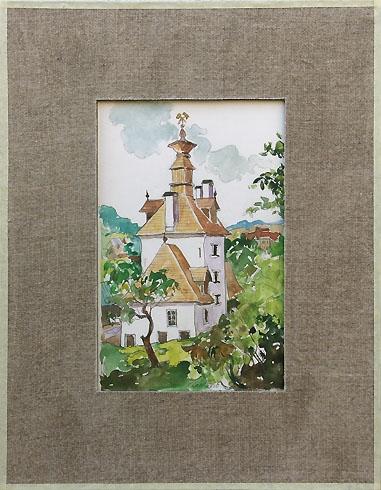 Igor LACKOVIČ - Klopačka v Banskej Štiavnici (2008), Technika: Kolorovaná kresba, ceruzka, akvarel, Rozmery: 20,5x14 cm