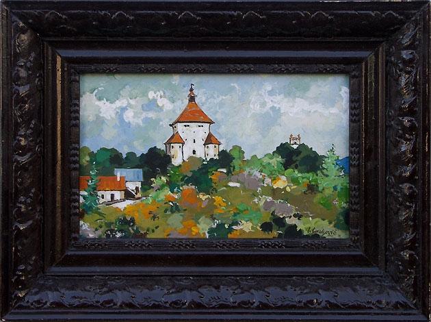 Igor LACKOVIČ - Nový zámok a Kalvária (2008), Technika: olejomaľba, Rozmery: 14,5x22 cm