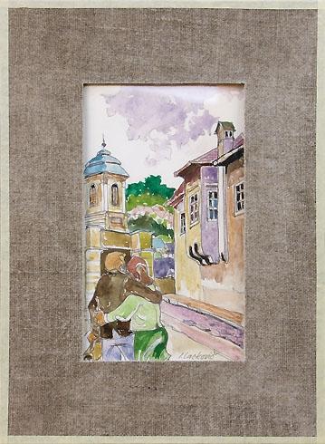 Igor LACKOVIČ - Študentská láska (2008), Technika: Kolorovaná kresba, ceruzka, akvarel, Rozmery: 20x13 cm