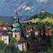 Autor: Jozef JELENÁK, Názov diela: Pohľad na Banskú Štiavnicu, Technika: pastel, Motív: krajina, architektúra, Rozmery: 46x38 cm, Rok: 2007