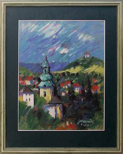 Jozef JELENÁK - Pohľad na Banskú Štiavnicu (2007), Technique: pastel, Size: 46x38 cm