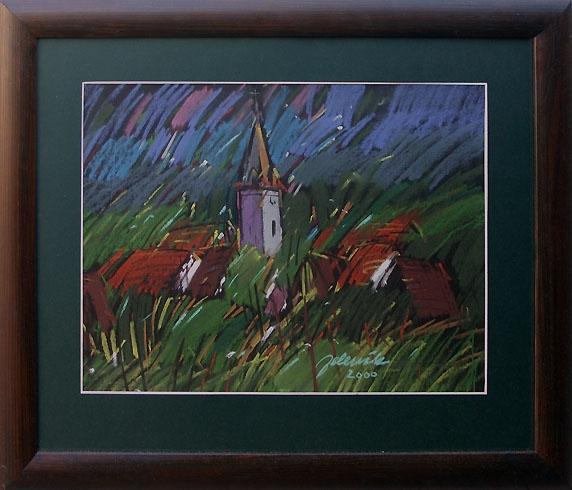 Jozef JELENÁK - Píla (2000), Technique: pastel, Size: 36,5x48,5 cm