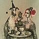 Autor: Katarína VAVROVÁ, Akademická maliarka, Názov diela: Ex Libris, Technika: Ručne kolorovaný lept, Motív: figurálne, akty, Rozmery: 14,7x9,6 cm, Rok: 0