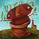 Autor: Fero LIPTÁK, Názov diela: Ten, čo sa presadil, Technika: olejomaľba, Motív: figurálne, akty, Rozmery: 40x40 cm, Rok: 2008