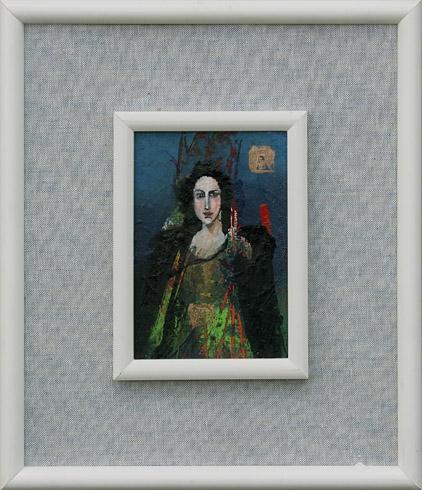 Milan VAVRO, Akademický maliar - Tajomná Ester (2006), Technika: kombinácia techník, Rozmery: 15x10 cm