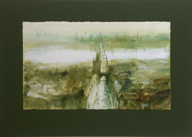 Zdeněk HOŠEK, Akademický sochár - Praha - Mostecká, Karlov most (2002), Technika: akvarel, Rozmery: 27x46 cm