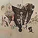 Autor: Katarína VAVROVÁ, Akademická maliarka, Názov diela: Loď komediantov, Technika: Lept - ručne kolorované, Motív: figurálne, akty, Rozmery: 42x50 cm, Rok: 0