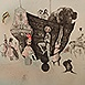 Autor: Katarína VAVROVÁ, Akademická maliarka, Name of work: Loď komediantov, Technique: Lept - ručne kolorované, Motif: figured, nudes, Size: 42x50 cm, Year: 0