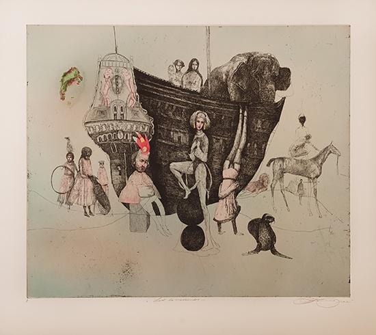 Katarína VAVROVÁ, Akademická maliarka - Loď komediantov, Technika: Lept - ručne kolorované, Rozmery: 42x50 cm