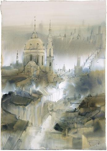 Zdeněk HOŠEK, Akademický sochár - PRAHA - sv. Mikuláš, Staré mesto (2002), Technika: akvarel, Rozmery: 35x25 cm