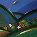 Autor: Jozef JELENÁK, Názov diela: Na tom kopci rastú dubáky, Technika: pastel, Motív: krajina, architektúra, Rozmery: 28x61 cm, Rok: 2008