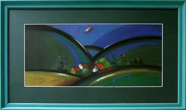 Jozef JELENÁK - Na tom kopci rastú dubáky (2008), Technika: pastel, Rozmery: 28x61 cm