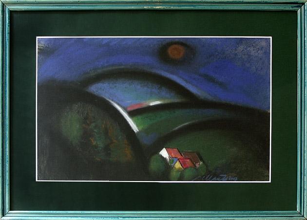 Jozef JELENÁK - Oranžové slnko (2008), Technika: pastel, Rozmery: 36x57 cm