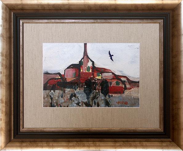 Milan VAVRO, Akademický maliar - Spomienka (2007), Technika: kombinácia techník, Rozmery: 17x25 cm